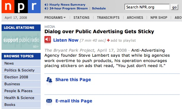 NPR: Dialog over Public Advertising Gets Sticky