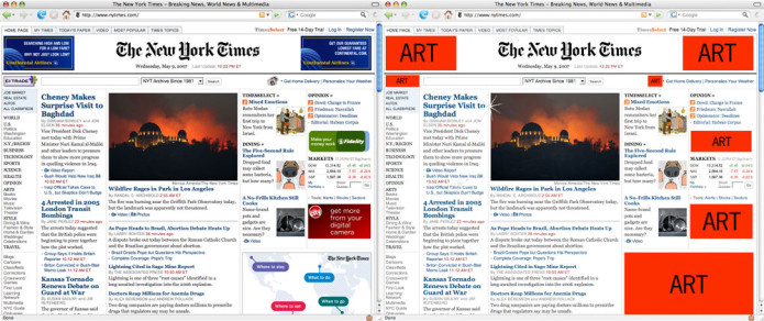 Mock-up demonstrating Add-Art on the New York Times website.