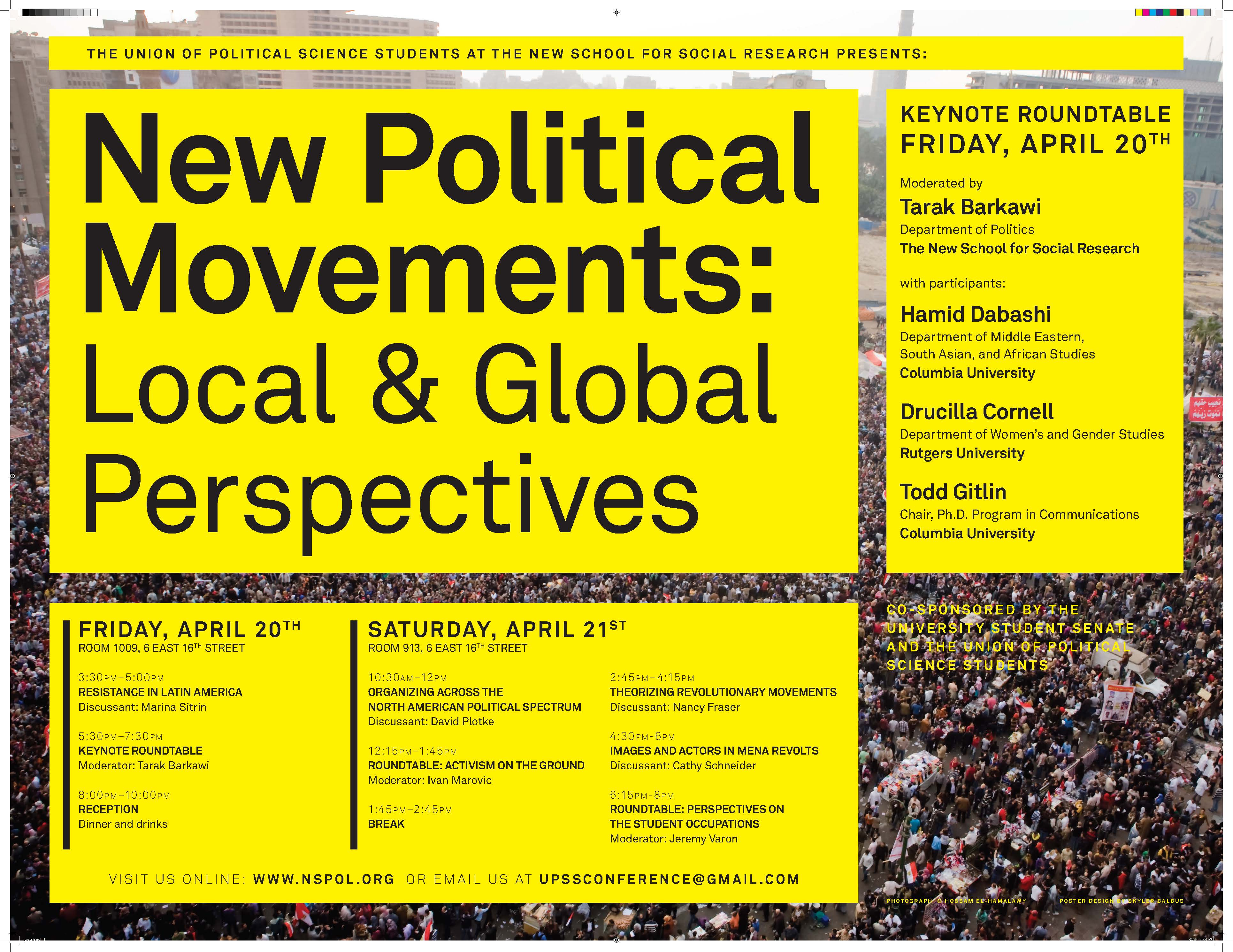 New Political Movements conference at New School for Social Research – 4/21