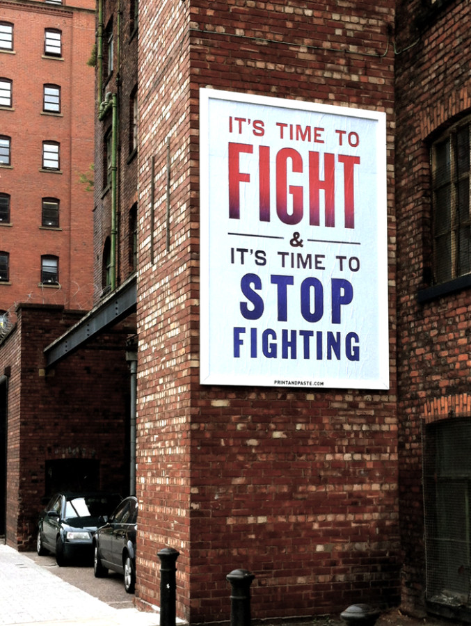 Steve Lambert Time to Fight with Print & Paste in Manchester England photo
