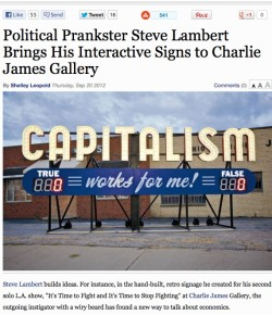 LA Weekly: Political Prankster Steve Lambert Brings His Interactive Signs to Charlie James Gallery