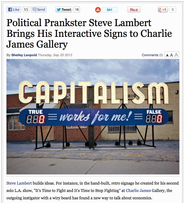 LA Weekly: Political Prankster Steve Lambert Brings His Interactive Signs to Charlie James Gallery photo