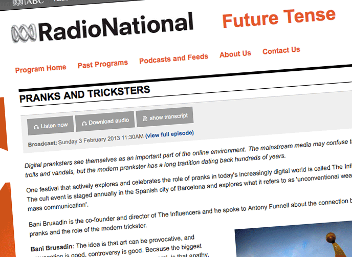 Steve Lambert Australian National Radio Future Tense: Pranks and Tricksters interview photo