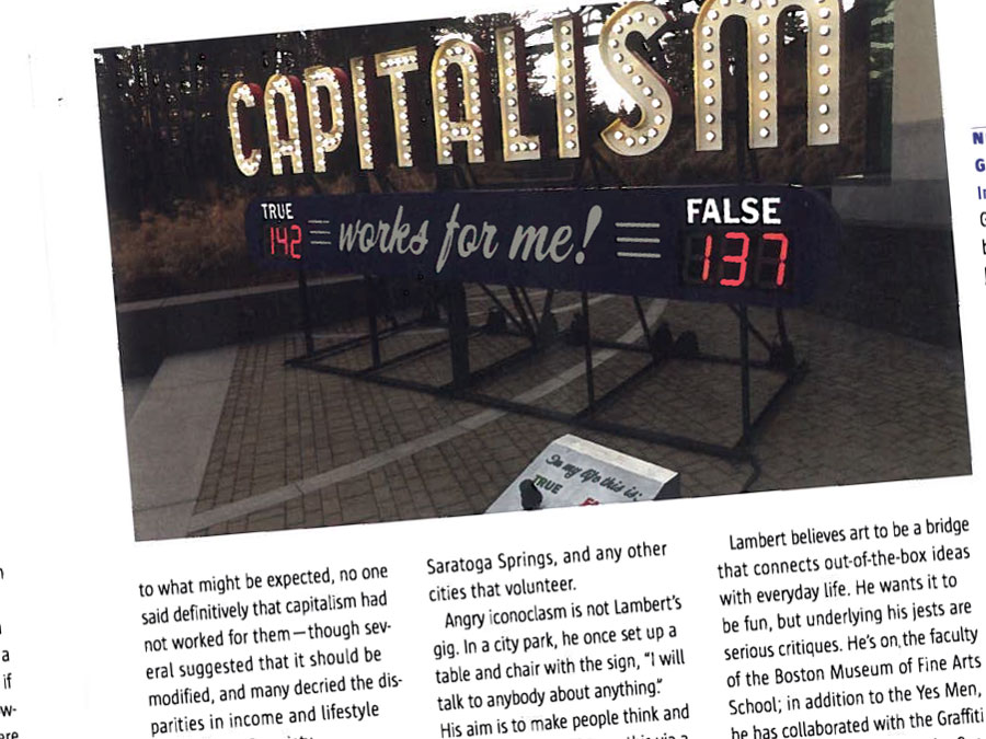 Steve Lambert Sculpture Magazine on Capitalism Works For Me! True/False photo