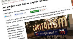Cedar Rapids press coverage on Capitalism Works For Me! True/False