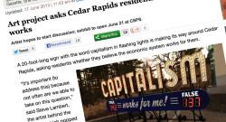Cedar Rapids press coverage on Capitalism Works For Me! True/False