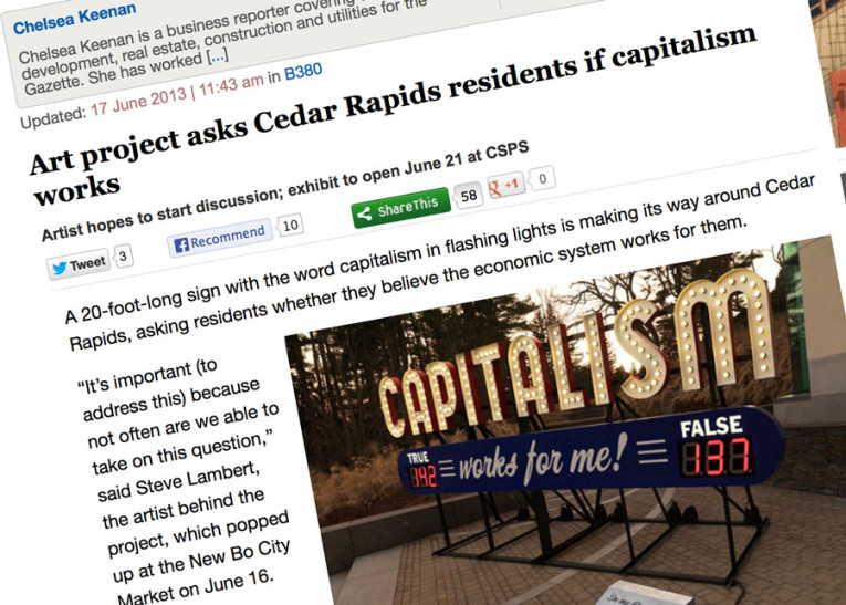 Steve Lambert Cedar Rapids press coverage on Capitalism Works For Me! True/False  photo