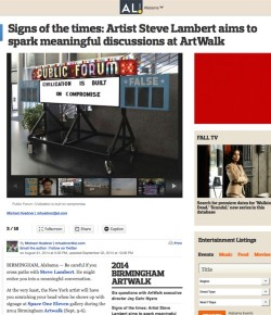 Signs of the times: Artist Steve Lambert aims to spark meaningful discussions at ArtWalk