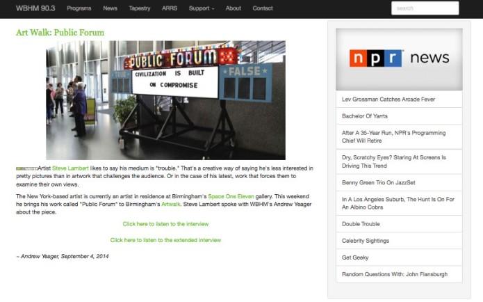 Steve Lambert WBHM Radio Interview
