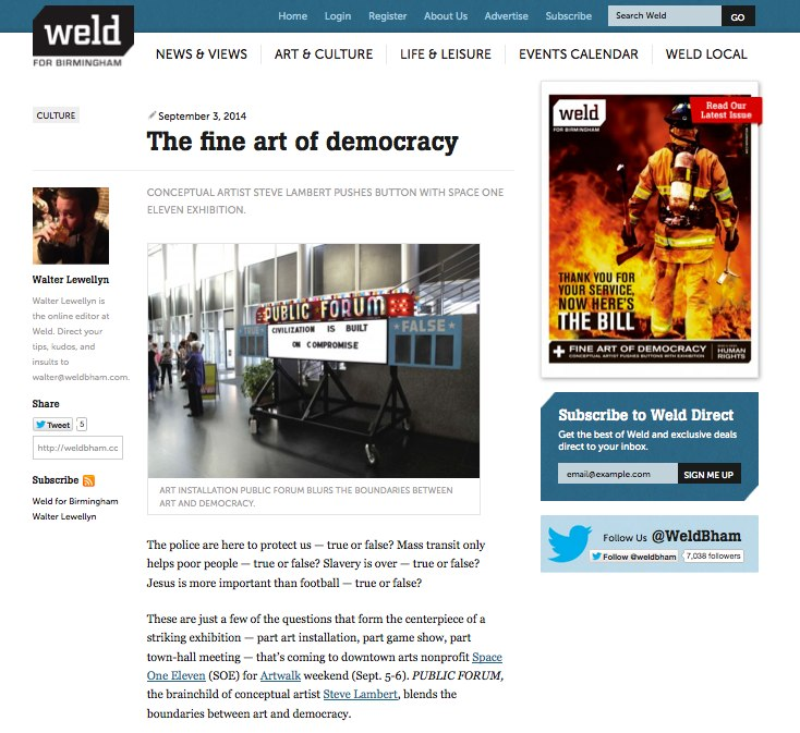 Steve Lambert The Fine Art of Democracy in WELD, Birminghams alt weekly photo