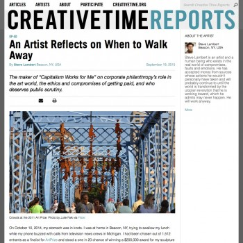 See this piece on Creative Time Reports