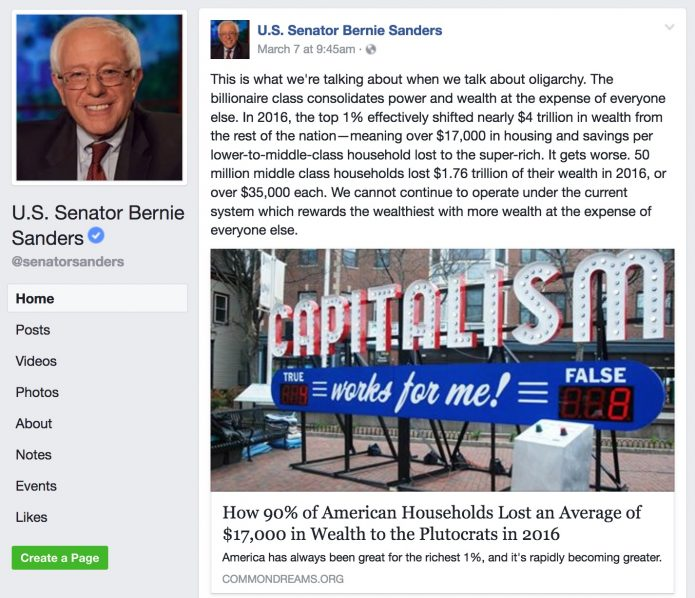 Capitalism Works For Me! True:False - bernie sanders facebook