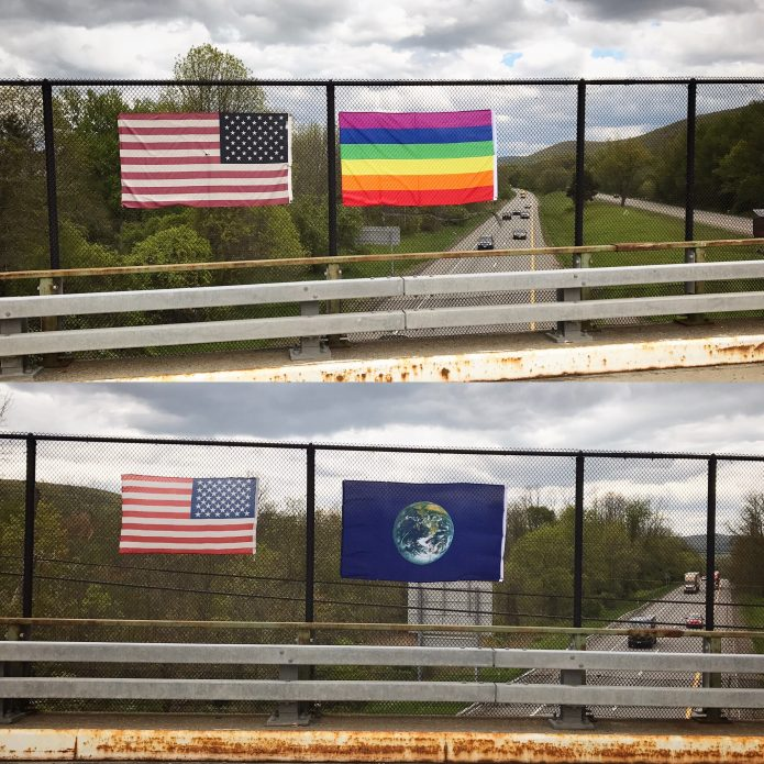 Steve Lambert Overpass flags