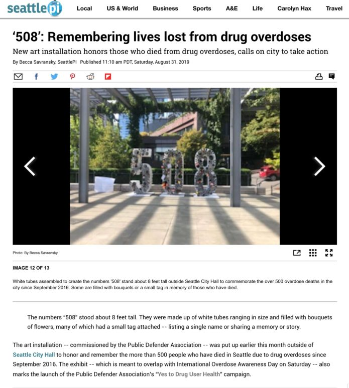 Seattle Post Intelligencer story on 508 Installation at Seattle City Hall